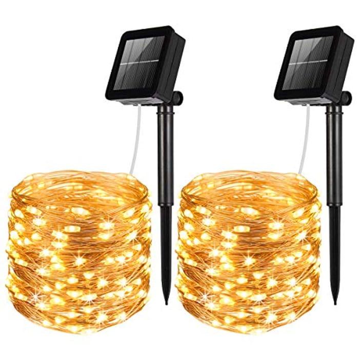 Solar Lights Outdoor, (100 LED, 2 Modes)
