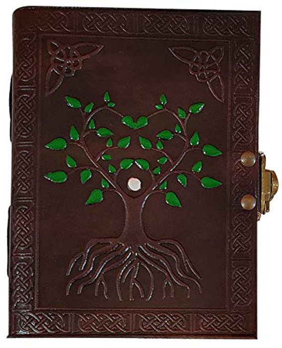 Hand Painted Tree of Life Leather Journal Diary Notebook