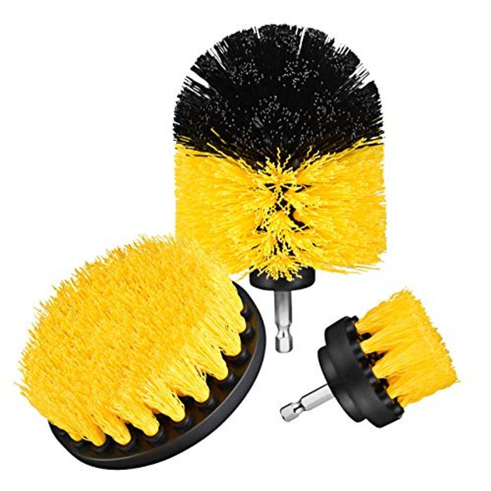 3 Pcs Nylon Drill Powered Cleaning Brushes Kit for Bathroom, Kitchen Etc