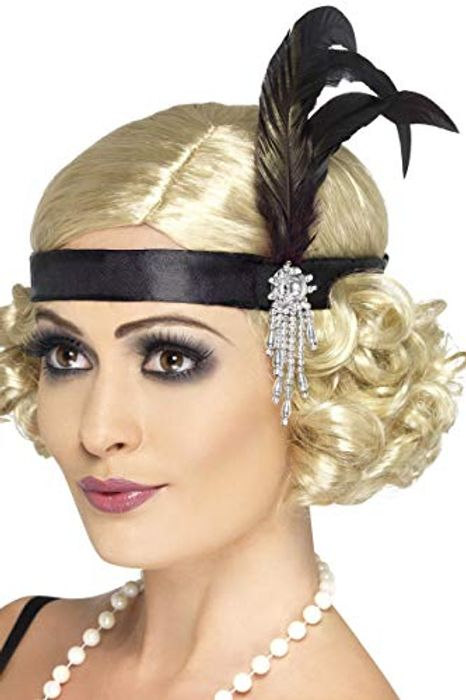Smiffys Black Satin Charleston Headband