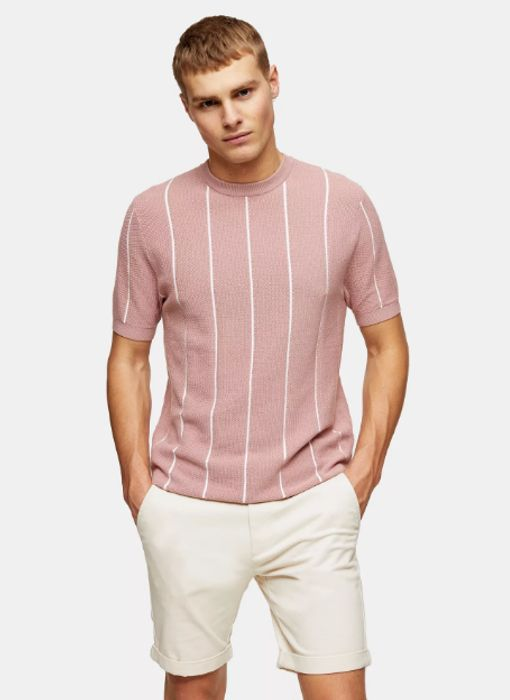 Pink Stripe Knitted T-Shirt
