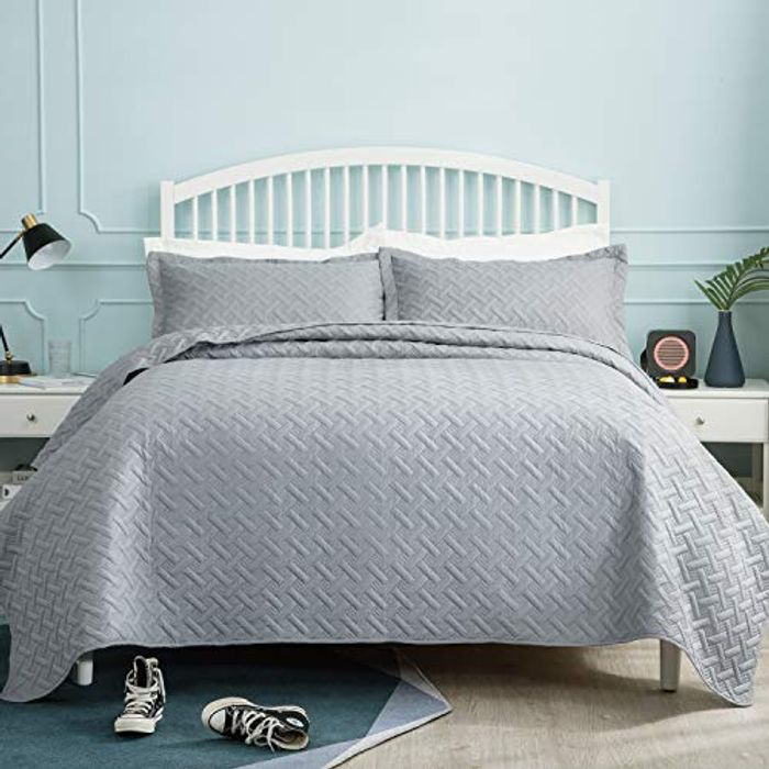 Bedsure Quilted Bedspread Double Size -Grey Basketweave Pattern 220x240cm £13.99