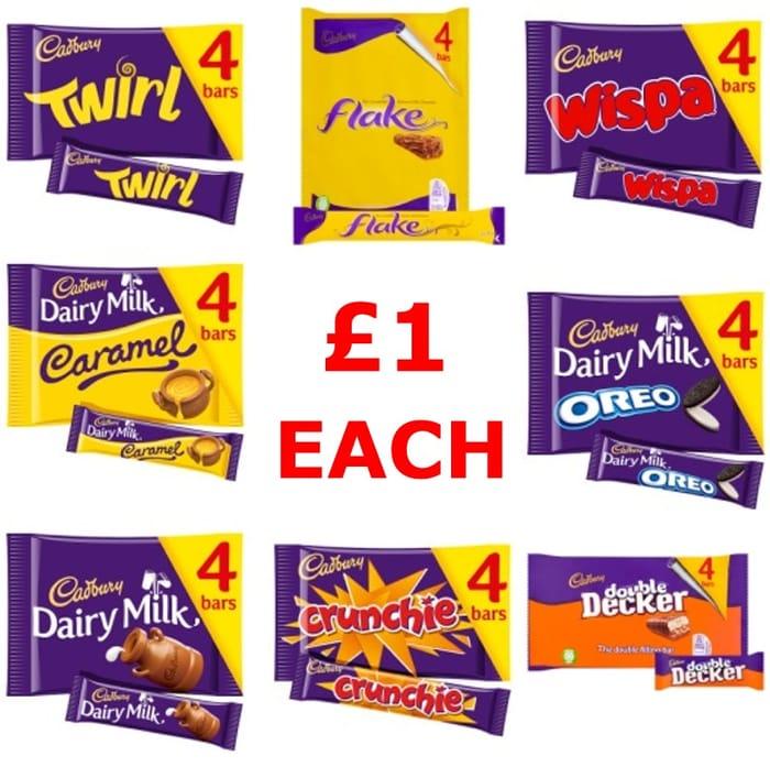 Cadbury Chocolate Bar 4 Packs All £1.00 Each
