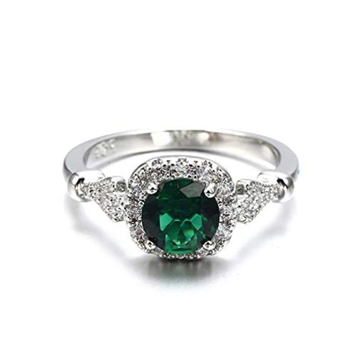 Imitation Emerald Micro Inlaid Meteorite Ladies Engagement Ring Squar