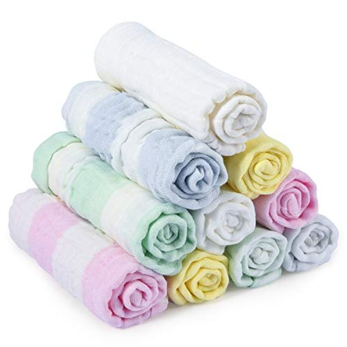 "Baby Muslin Cloths, Baby Wash Cloth 10 Pack 11.8"" X 11.8"""