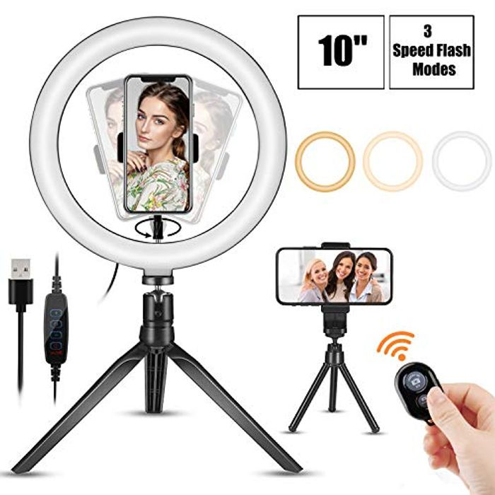 Cheap4uk Ring Light 10 Inch LED Ring Lights with Tripod Stand Only £5.78
