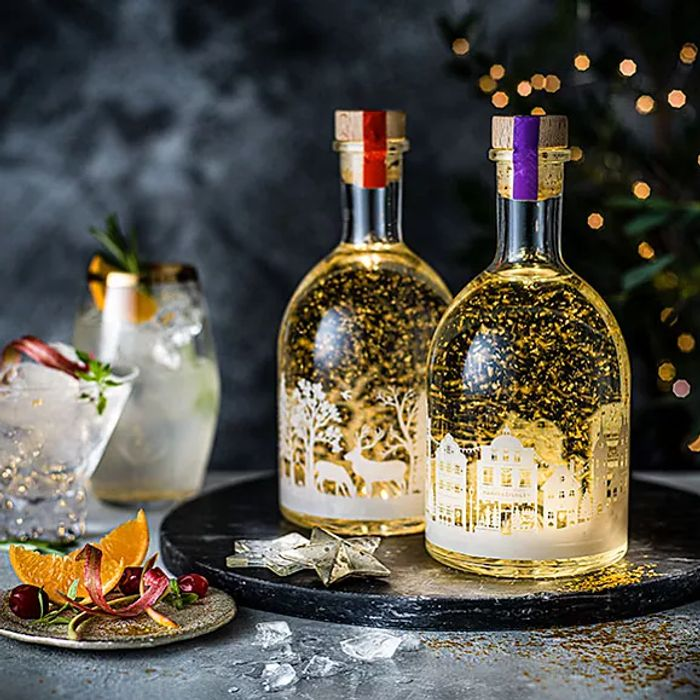 Christmas Clementine or Rhubard Gin Liqueur in Light up Bottle