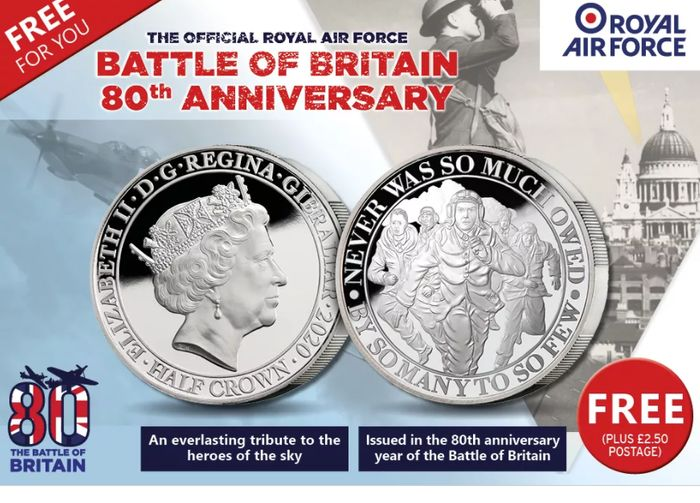 Free ROYAL AIR FORCE 'THE FEW' COMMEMORATIVE COIN *Just Pay P&P