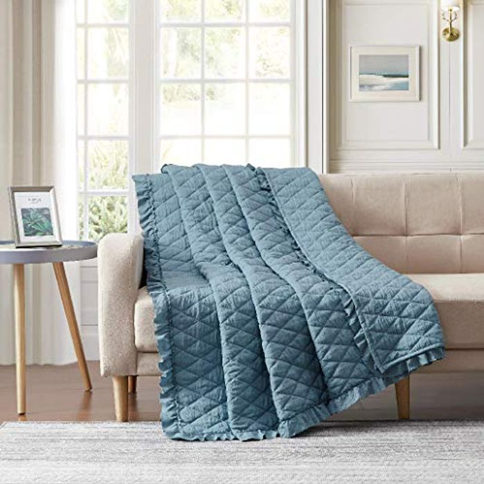 BOURINA Quilted Throw Blanket with Ruffles - Only 10.99!
