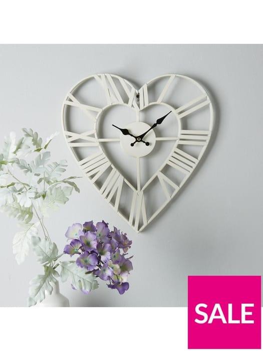 *SAVE £3* Metal Heart Shape Wall Clock