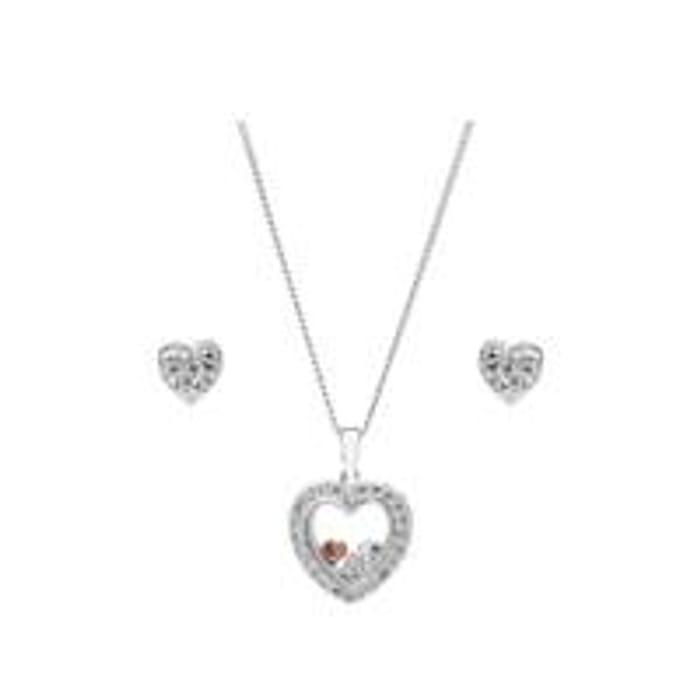 Simply Silver Cubic Zirconia Heart Shaker Jewellery Set