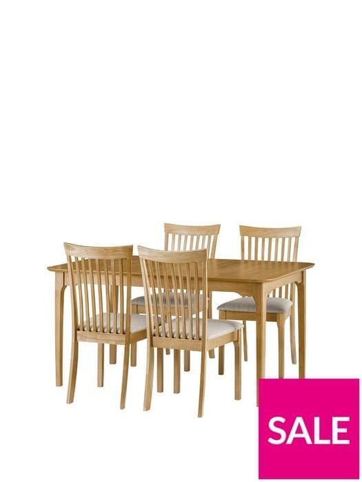 *SAVE £100* Julian Bowen Ibsen 150 - 190 Cm Extending Dining Table + 4 Chairs