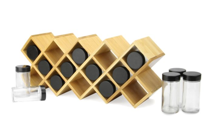 Bamboo Spice Rack with Jars | M&W