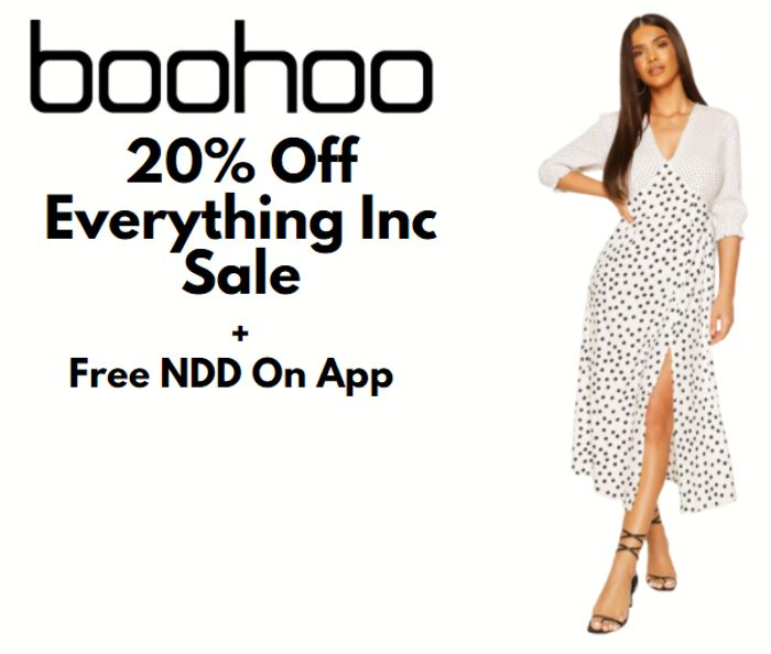 boohoo - 20% Off Everything Inc Sale + FREE NDD On App