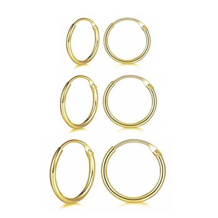 DEAL STACK - Wynn's 3 Pairs 925 Sterling Silver Cartilage Hoop Earrings Set