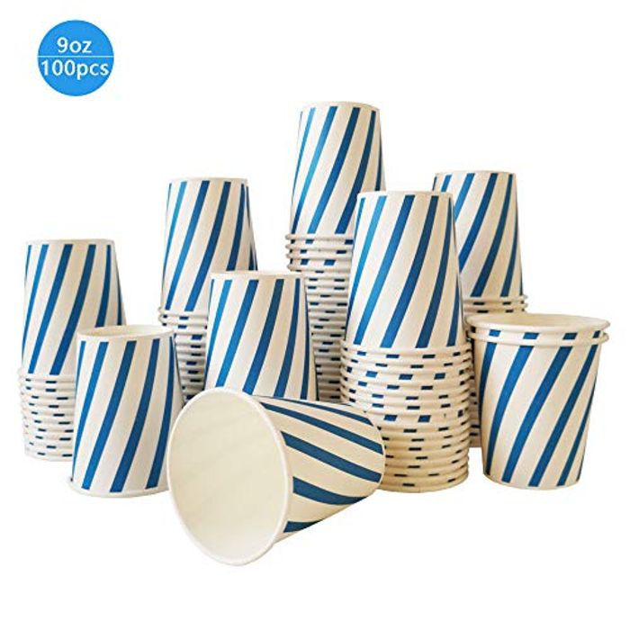 100 Recycled Eco Paper Cups 250ML for Parties / Disposable