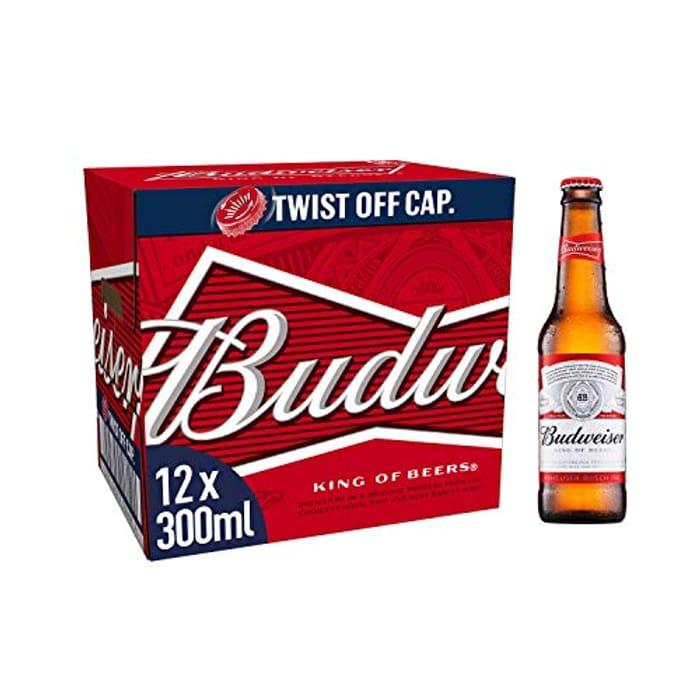Budweiser Lager Beer Bottle, 12 X 300ml - Only £7.45!