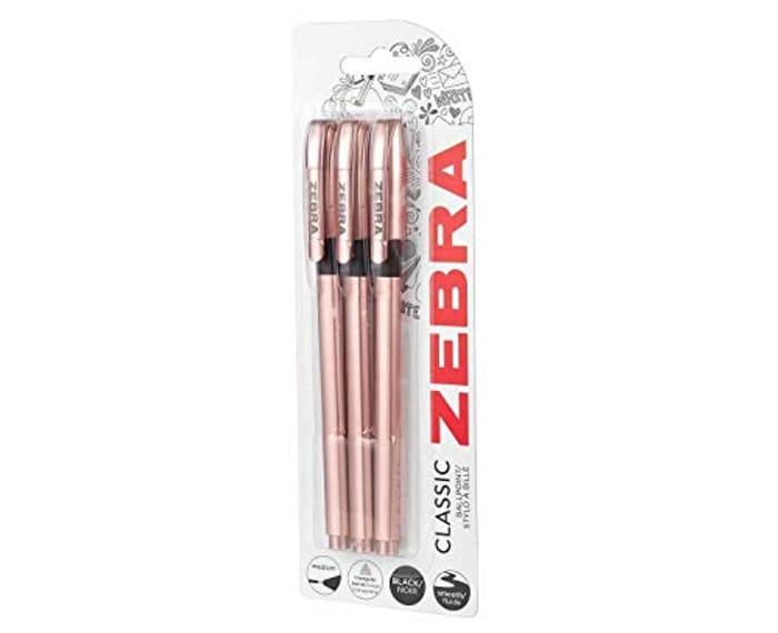 Zebra Classic Rose Gold Ballpoint Pens Black Ink - Pack of 3