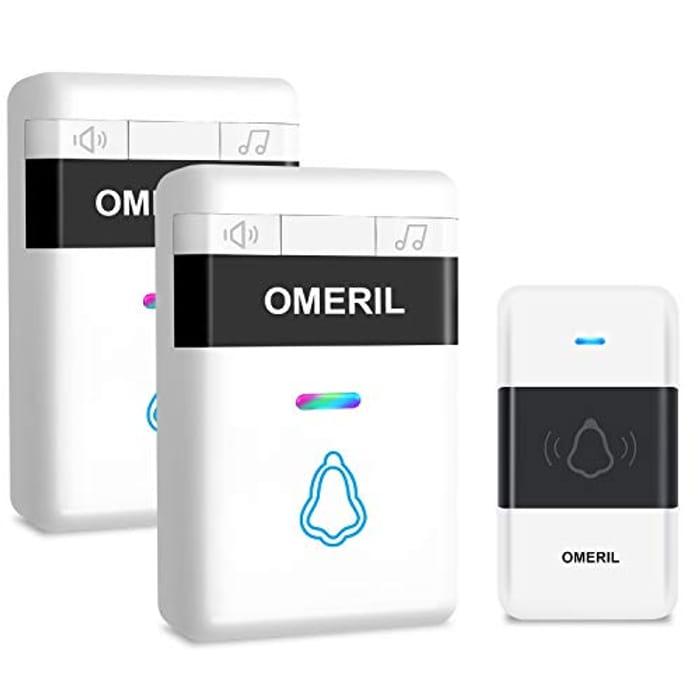 Door Bell, OMERIL Loud Wireless Doorbell with 5 Level Volume