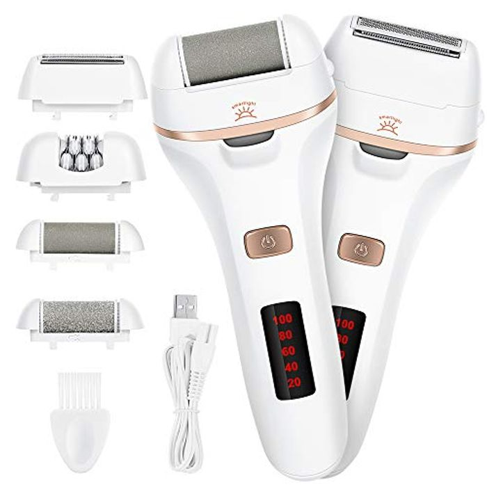 Waterproof Electric Foot File Tool with Light and 4 Heads