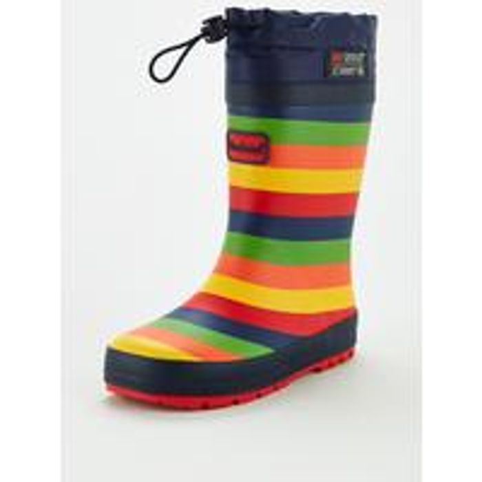 V by Very Younger Childrens Stripe Wellie with Toggle Fastening - Multi