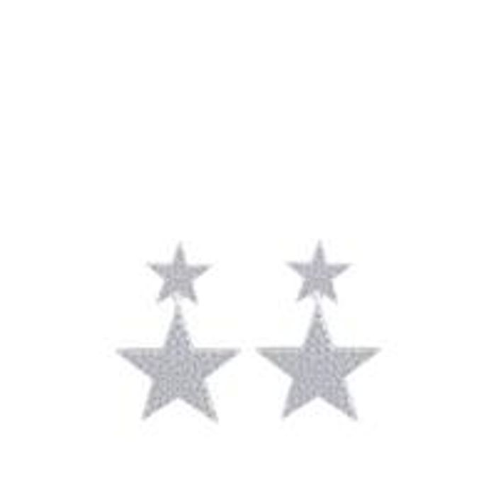 Sterling Silver Micro Set Cubic Zirconia Double Star Drop Earrings
