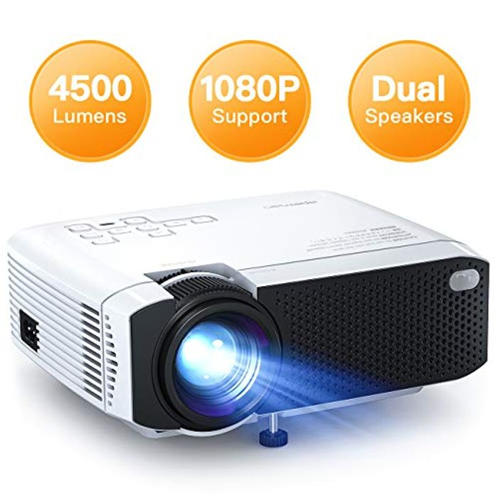 "Portable Mini Projector 4500 Lumens Supports 1080P Max 180"" Display"