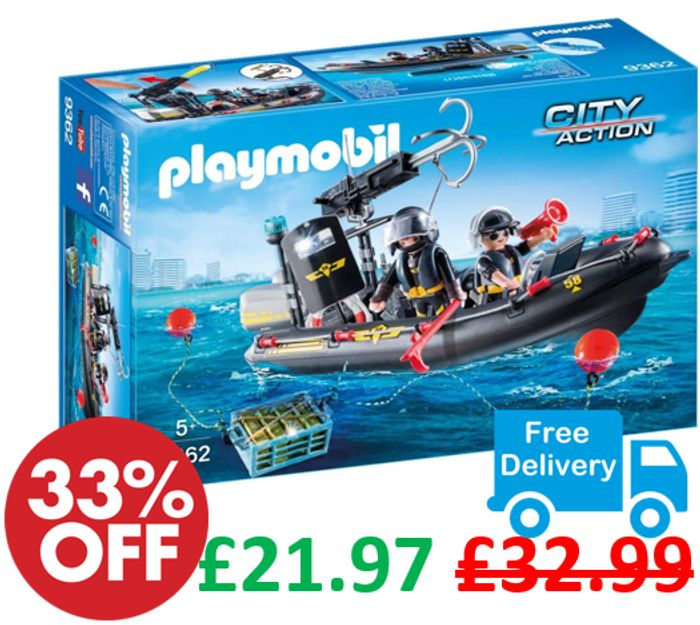 SAVE £11 + FREE DELIVERY - Playmobil SWAT Boat - Floats on Water - Age 5+