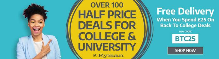 Free Delivery When You Spend £25 on Back to College Sale at Ryman
