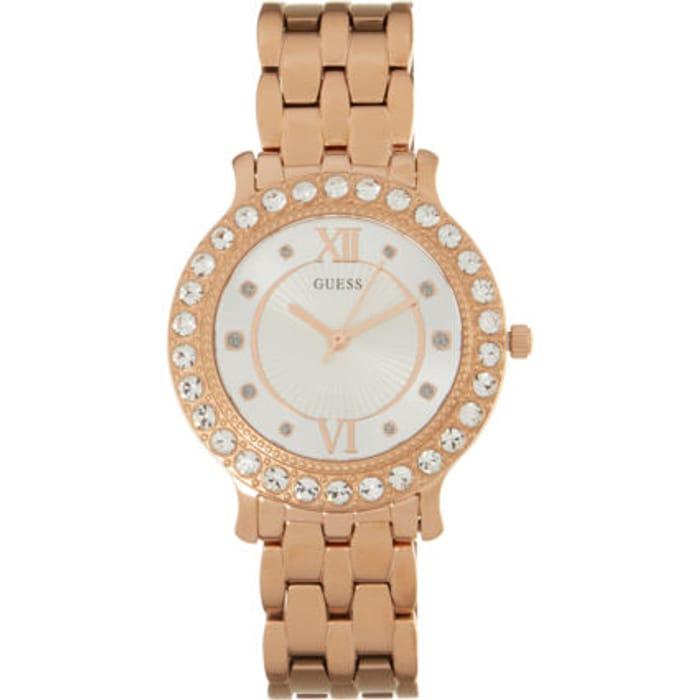 GUESS Rose Gold Tone Jeweled Analogue Watch