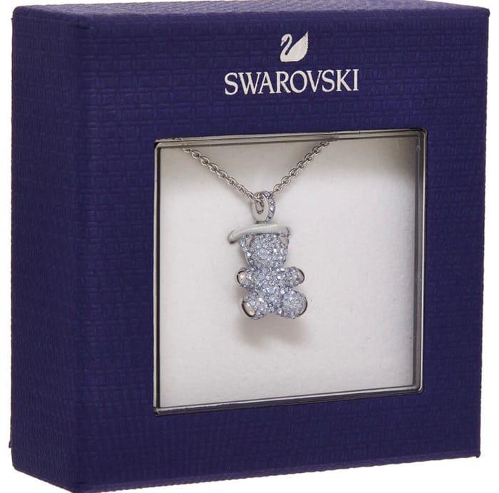 SWAROVSKI Silver Tone Teddy Pendant Necklace
