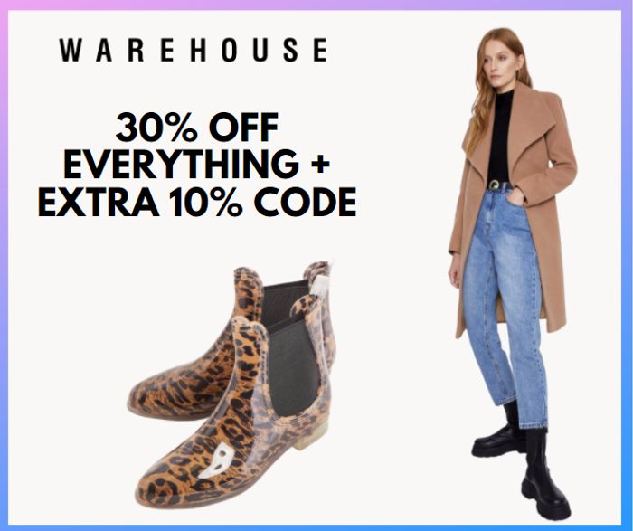 Warehouse - 30% Off EVERYTHING + Extra 10% Code + £1 Delivery!