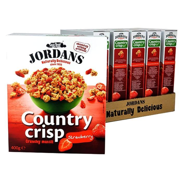 6 X Jordans Country Crisp Crunchy Muesli Strawberry 400g Boxes