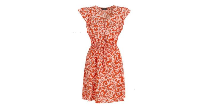 Red Floral Button Tie Front Mini Dress - Only £9!