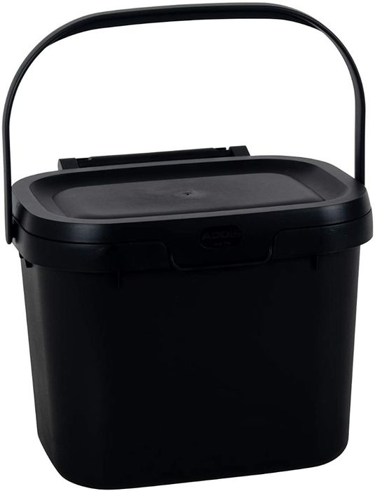 Addis Everyday Kitchen Food Waste Compost Caddy Bin, 4.5 Litre, Black
