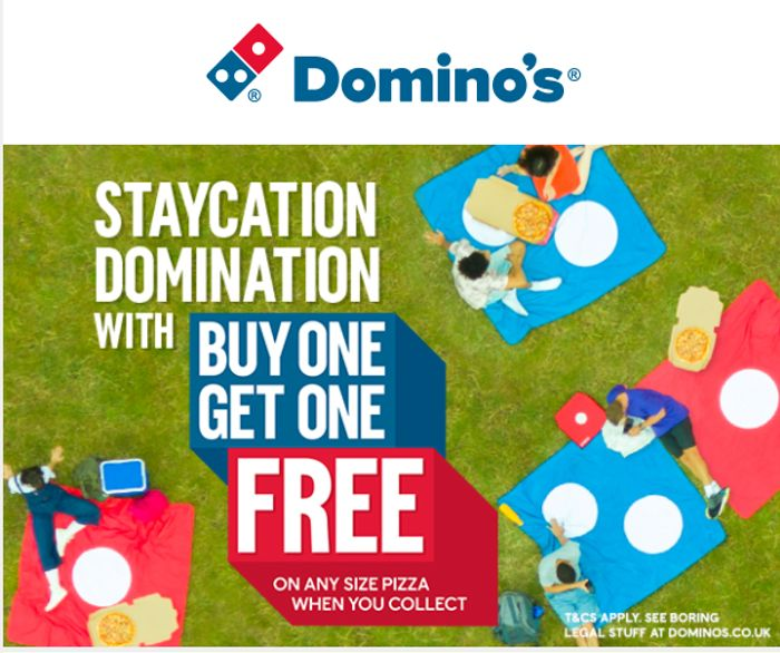 Walk in Win Buy Any Size Pizza and Get Another Absolutely Free.
