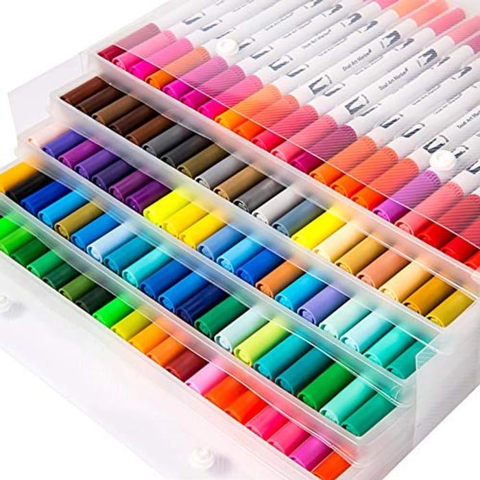 100 Colours Art Watercolour Brush Pens