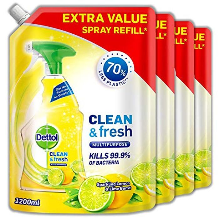 Dettol Refill Clean&Fresh Cleaning Spray Lemon, Pack of 4 X 1.2 Litres