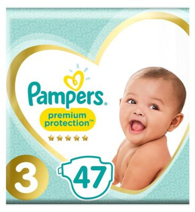 Pampers Premium Protection Size 3, 47 Nappies, 6-10kg