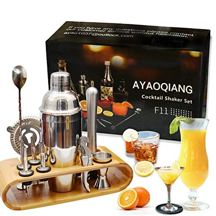 Cocktail Making Set with Wooden Display Stand