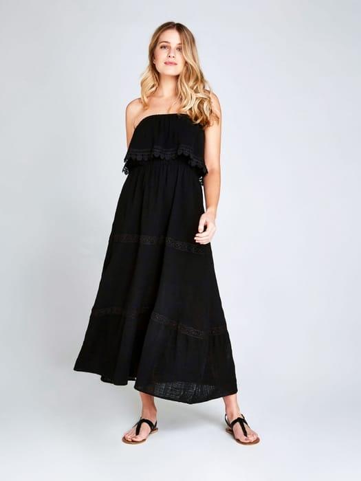 Black Lace Tier Maxi Dress