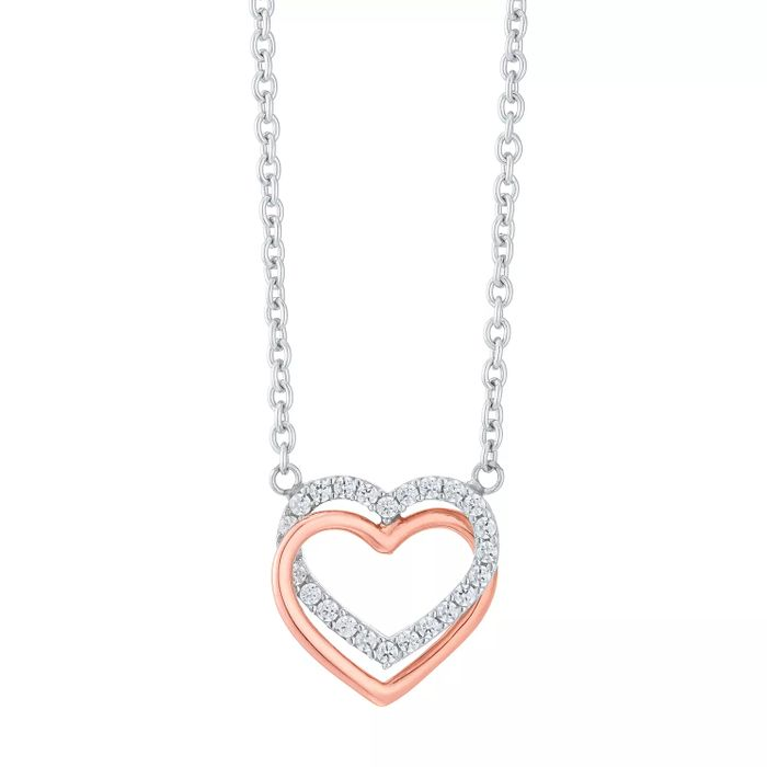 Cheap 9ct Rose Gold & Silver Cubic Zirconia Linked Heart Necklace - Only £50!