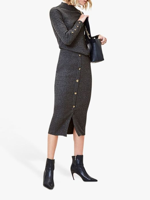 John Lewis Oasis Ribbed Knit Cosy Top, Dark Grey