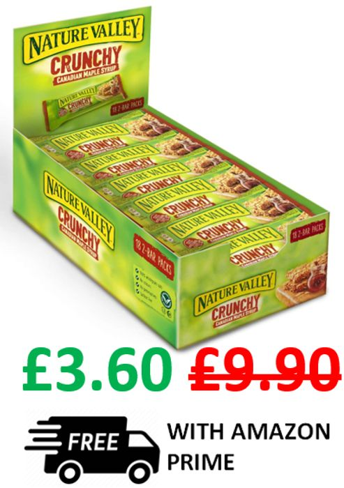 18 TWO BAR PACKS - Nature Valley Crunchy Canadian Maple Syrup Snack Bars