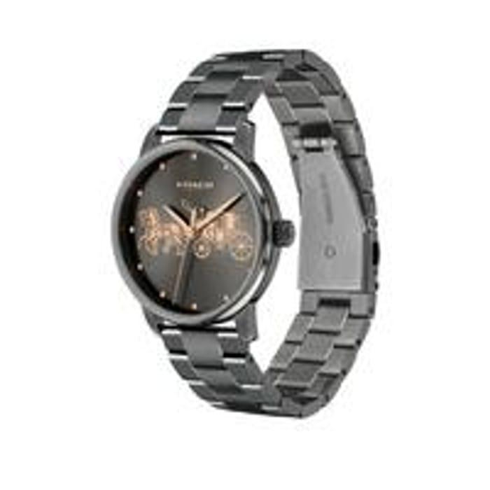 Coach Grand Black Dial Grey Bracelet Watch