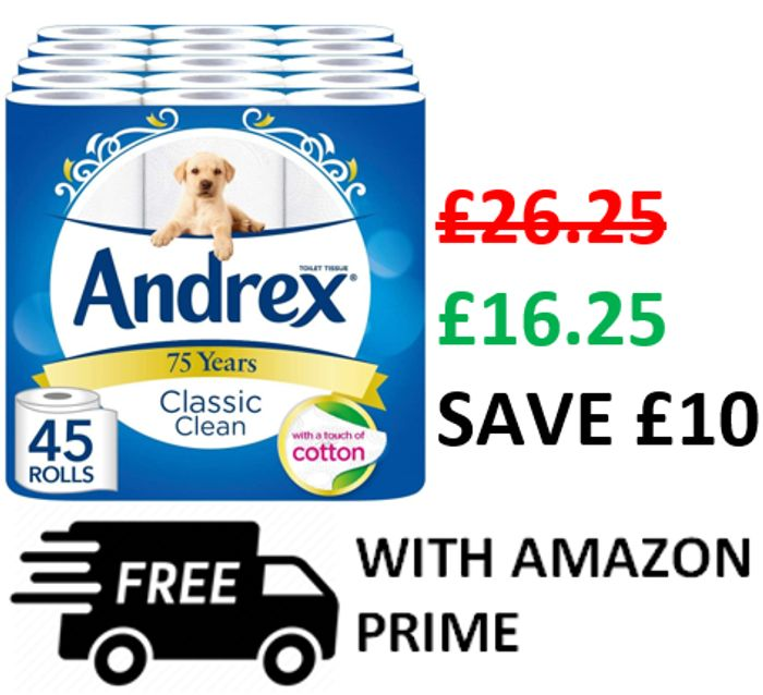 SAVE £10 ANDREX DEAL! 45 Andrex Classic Clean Toilet Rolls