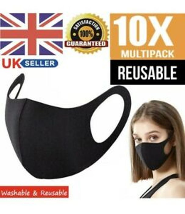 10 X Pack Reusable and Washable Face Mask Black - Only £3.98!