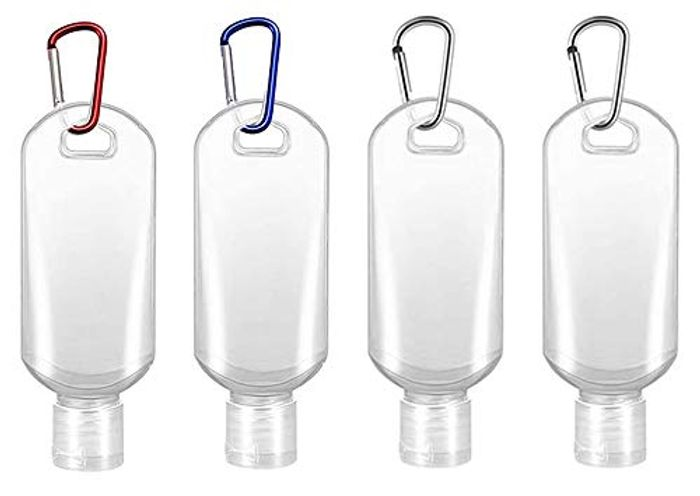 Refillable Travel Bottles Hand Sanitizers Containers with Carabiner Clip (4pcs)
