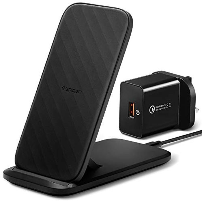 Spigen 15W Convertible Fast Wireless Charger Stand & Pad W/ QC 3.0 Adapter