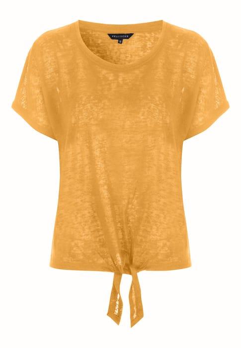 Womens Mustard Tie Front Faux Linen Top
